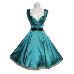 Jade Green Swing Marilyn Dress 50's Pinup Rockabilly Retro Vintage Style 6842