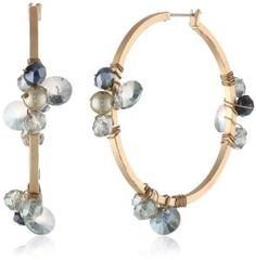 "Kenneth Cole New York ""Woven"" Faceted Bead Cluster Hoop Earrings"