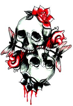 Cool Tattoo flash of skulls and roses