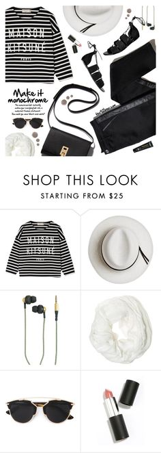 """""""Make It Monochrome"""" by the92liner ❤ liked on Polyvore featuring TROA, Maison Kitsuné, Calypso Private Label, Kreafunk, Betsey Johnson, Christian Dior, Sigma Beauty, Topshop and monochrome"""