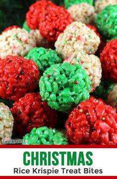 Christmas rice krispie treat bites - yummy, bite-sized balls of crunchy, marshmallow-y delight. this is a christmas dessert that is easy to make and even Best Christmas Recipes, Christmas Party Food, Homemade Christmas Gifts, Christmas Desserts, Christmas Baking, Holiday Treats, Holiday Recipes, Diy Christmas, Christmas Appetizers