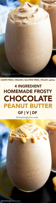 4 Ingredient Chocolate Peanut Butter Homemade Frosty Recipe (V+GF): an easy, 5-minute recipe for a thick 'n creamy homemade Wendy's frosty made with just 4 healthy ingredients! #Vegan #GlutenFree #DairyFree #Paleo option, #NoAddedSugar #RefinedSugarFree #FrozenDesserts | Recipe at BeamingBaker.com