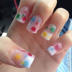 Splatter acrylic nail design
