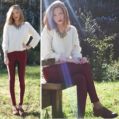 Weekday Angora Sweater, American Apparel The Disco Pant, Topshop Statement Necklace, Office Shoes Shoes