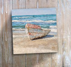 Картина Лодочка и бирюзовое море (голубой, морской пейзаж, бежевый)