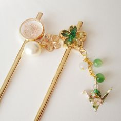 KANZASHI,Hair stick made with real flower,hair stick with origami crane