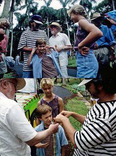 Laura Dern, Steven Spielberg, Joseph Mazzello, Richard Attenborough, Ariana Richards and Sam Neill on the set of Jurassic Park