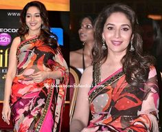 At a press meet, Madhuri was spotted in an Arpita Mehta sari, which going by her recent appearances seems to be a designer she's taken a shine to.
