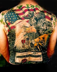 One interesting tattoo that you may want to consider is the eagle tattoo. Eagle tattoos are not a main stream tattoo but they are a demand for them, especially in America. Eagle tattoos can be designed in a variety of different ways. Patriotische Tattoos, Tattoos Mandala, Army Tattoos, Military Tattoos, Back Tattoos, Love Tattoos, Beautiful Tattoos, Picture Tattoos, Tattoos For Guys