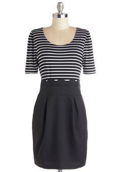 All in a Day's Work Dress by Kling - Black, White, Stripes, Pleats, Pockets, Scallops, Twofer, Short Sleeves, Better, Scoop, Knit, Woven, Mi...