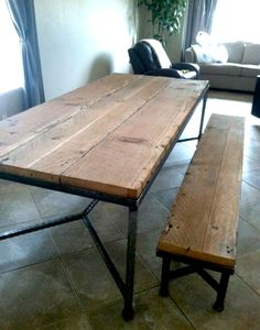 Simple Welded Steel Table Base And Legs With Reclaimed Wood Top.