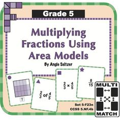 Grade 5 Multi-Match Game Cards for Multiplying Fractions Using Area Models: This set of 36 printable cards helps students understand multiplication of fractions using area models, called for by Common Core standard 5.NF.4b. Students will match multiplication expressions to the product or to an area model. ~by Angie Seltzer Math Literacy, Math Classroom, Teaching Math, Maths, Teaching Tools, Teaching Ideas, Classroom Ideas, Game Cards, Card Games