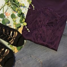 Purple lace sleeveless top size small Beautiful purple lace top. Lined so no need for a cami. Machine washable. Looks cute worn with belt and skirt or jeans. Gorgeous rich color. New York and Co. Size small would fit medium. New York & Company Tops Blouses