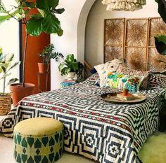 Hypnotic Quilt Set by Justina Blakeney Boho Bedroom Blakeney Hypnotic Justina quilt Set Boho Bedroom Decor, Bohemian Decor, Mexican Bedroom Decor, Bohemian Style Bedding, Funky Bedroom, Gypsy Bedroom, Whimsical Bedroom, Moroccan Bedroom, Boho Chic