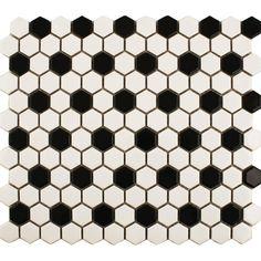 Black & White Hexagon Tile Bathroom floor with Delorean grout