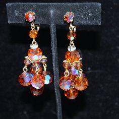 Vintage Earrings Amber Glass Crystal Dangle 1950s par patwatty, $8,00