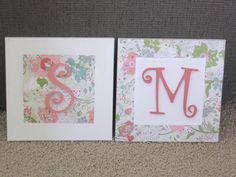 DIY letter blocks.  Scrapbook paper, 12x12 canvas, wooden letters and some leftover paint.