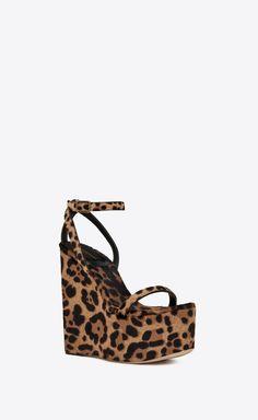 f8dd8baa8eef  Saint Laurent - Frida wedge sandal in cheetah printed pony effect leather  ( 1