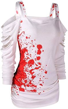 Cold Shoulder Ladder Cut Out Blood Splatter Printed Harajuku Slogan Tee Casual Tops Stylish Trendy Trendy Tshirt White XL Sweaters For Women, T Shirts For Women, Clothes For Women, Long Winter, Casual Street Style, Cute Tops, Casual Tops, Womens Fashion, Style Fashion