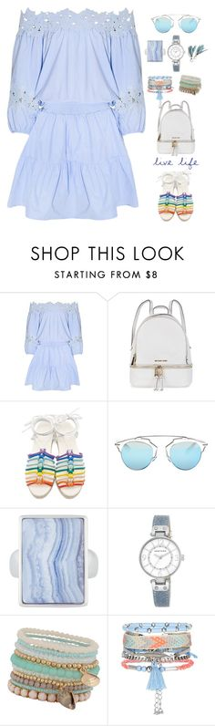 """""""Follow the trend_off-the-shoulder dress!"""" by marialibra ❤ liked on Polyvore featuring Michael Kors, Chloé, Christian Dior, Henri Bendel, Anne Klein, ALDO and New Look"""
