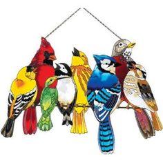 """15"""" x 20"""" Watercut Stained Glass Birds On A Wire by Joan Baker"""