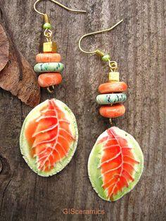 Leaf earrings Ceramic earrings Floral  Art jewerly от SoulArtUA