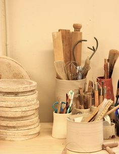 Karin Eriksson's tools reminds me to make my own ceramic pots to store my clay tools!