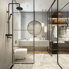 Modern Bathroom Inspiration // Elena Sedova - Pursue your dreams of the perfect Scandinavian style home with these inspiring Nordic apartment designs. Industrial Bathroom Design, Bathroom Interior Design, Modern Interior Design, Interior Design Inspiration, Design Ideas, Design Trends, Interior Livingroom, Interior Ideas, Contemporary Bathroom Designs