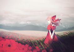 anime girl in field of flowers