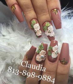 40$ 3d Acrylic Nails, 3d Nail Art, 3d Nails, Stiletto Nails, Cute Nails, 3d Nail Designs, Flower Nail Designs, Acrylic Nail Designs, 3d Flower Nails