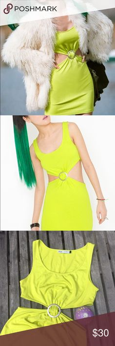 ⚡️SALE⚡️Nasty Gal x MINKPINK Mia Cut-Out Dress Nasty Gal x MINKPINK | Mia Dress in Lime Green | Cut-Out Body Con Style | Silver button Gathering Fabric in Front and Back | Mini Length | EUC | Awesome Rave or Festival Dress | Size Large Nasty Gal Dresses Mini
