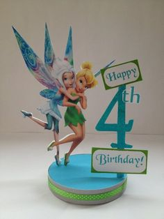 Tinkerbell Periwinkle Personalized Birthday Party Centerpiece. Centro de mesa de  Tinkerbell con su hermana.