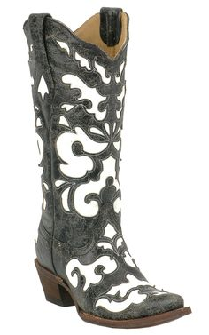 Corral Ladies Antiqued Black with White Inlay Snip Toe Western Boot