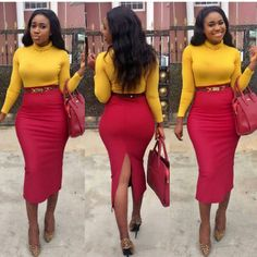 find over 50 Beautiful Africa women office outfits for you to try, Stay sexy in your day to day business and always look like the box in the office. Business Casual Outfits, Office Outfits, Classy Outfits, Chic Outfits, Girl Outfits, Fashion Outfits, African Fashion Dresses, African Dress, Pencil Skirt Outfits