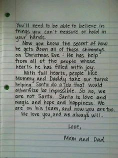 Perfect words for when the kids stop believing in Santa