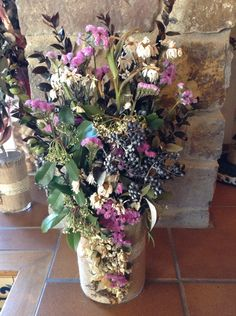 centro con flores secas