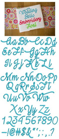 Wedding Bells Embroidery Font available for instant download at www.designsbyjuju.com