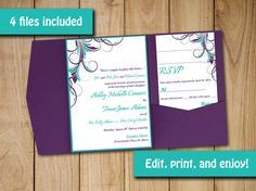 Turquoise and Purple Wedding Invitations for brides using teal ...