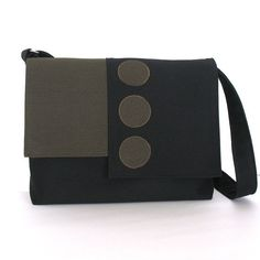 Denim messenger bag , Large black cotton crossbody bag for sexy men and women