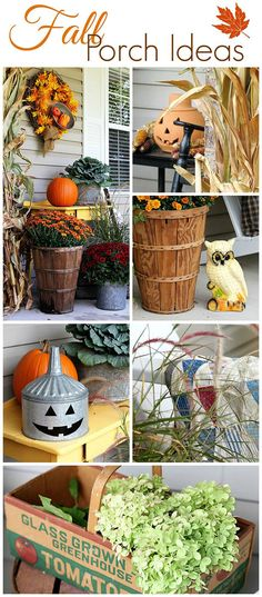 Here is a lot of different fall porch ideas for your home. LOTS of fall porch ideas and inspiration. Your porch is the first impression… Autumn Crafts, Thanksgiving Crafts, Thanksgiving Decorations, Holiday Crafts, Outdoor Fall Decorations, Seasonal Decor, House Decorations, Autumn Decorating, Porch Decorating