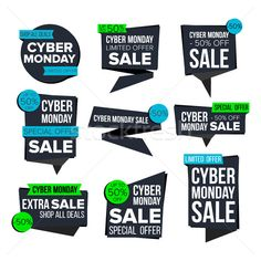 Cyber Monday Sale Banner Set Vector. Sale Technology Banner. Discount Tag, Special Monday Offer Bann stock photo (c) pikepicture (#8597240) | Stockfresh