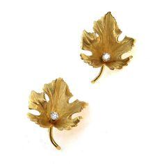 Estate 14k Gold Diamond Maple Leaf Earrings by Eckfeldt & Ackley
