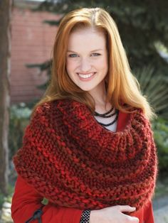 Free Pattern - Thick textured rows keep you warm all through the winter in this quick and easy knit.