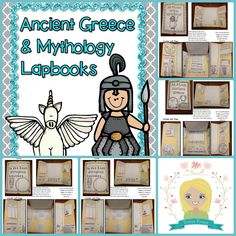 """Lapbooks for grades 3-6. Students will write reports about Ancient Greece, Greek Mythology, an essay about who they think is the best Olympian god or goddess, and an original myth. Each essay or story will be """"published: into a finished lapbook. Graphic organizers and lesson outlines and ideas included. $"""