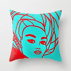 Blue Pillows, Throw Pillows, Pillow Cases, Cover Pillow, Designer Pillow, Decorative Pillow Covers, Red And Blue, Pop Art, Cushions