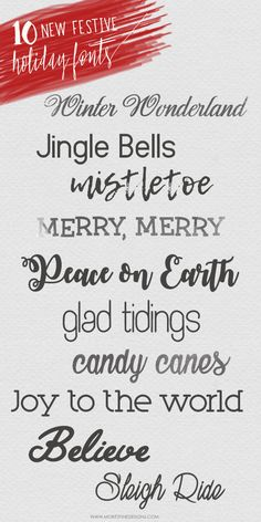 Festive new Free Holiday Fonts are easy to download and use for all your holiday crafts, diy projects, Christmas projects and more.