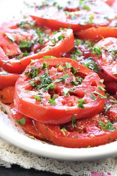 The BEST Marinated Tomatoes ripe juicy tomatoes soak up olive oil red wine vinegar onion garlic fresh herbs in this zesty summer salad or versatile side dish Fresh Tomato Recipes, Tomato Salad Recipes, Summer Salad Recipes, Summer Salads, Vegetable Recipes, Vegetarian Recipes, Cooking Recipes, Healthy Recipes, Veggie Food