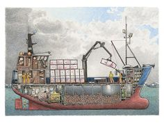 This crabber is a composite of several house-aft Bering Sea crab boats. The drawing shows the fish holds loaded with red king crab, the engine. Chris Craft Wooden Boats, Boat Illustration, Boat Drawing, Free Boat Plans, Shrimp Boat, Build Your Own Boat, Best Boats, Plywood Boat, Wooden Boat Plans