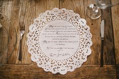 a message to friends and family printed on a doily placemat Photography by perpixelphoto.com  Read more - http://www.stylemepretty.com/2013/09/05/diy-los-angeles-wedding-from-perpixel-photography/