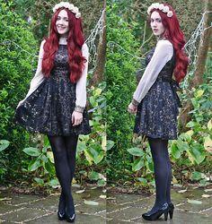 Yumi Dress, Romwe Sequin Detail Blouse, H&M Heels, Crown & Glory Headband